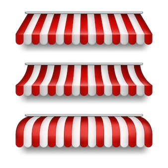 Realistic set of striped awnings isolated on background. clipart with red and white tents