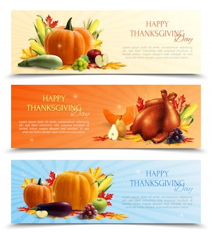 Realistic set of thanksgiving day banners with autumn harvest and roasted turkey