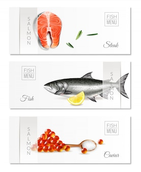 Realistic set of three horizontal banners with fish menu salmon steaks and caviar isolated
