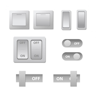 Realistic  set of toggle switches on/off for decoration. collection of technology sliders vector illustration.