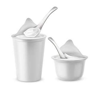 Realistic set of two blank pots with open foil lids, plastic containers or jars with spoons,