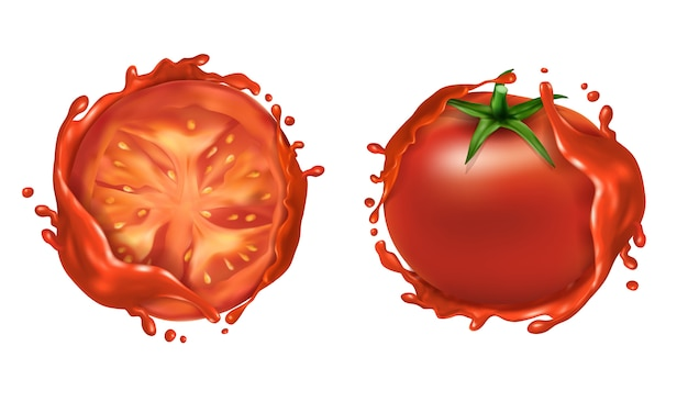 Realistic set of two red ripe tomatoes, whole fresh vegetable and half
