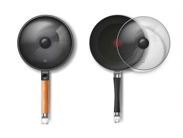 Realistic set of two round frying pans with glass lids, with red thermo-spot indicator