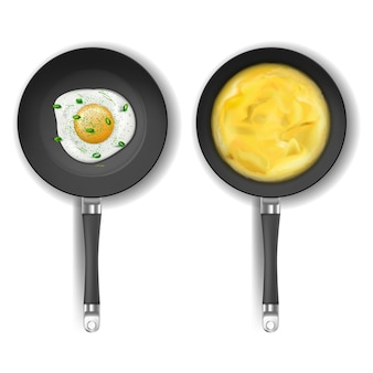 Realistic set of two round frying pans with non-stick coating isolated on background.