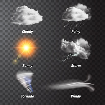 Realistic set weather icon set with cloudy sunny storm rainy windy descriptions