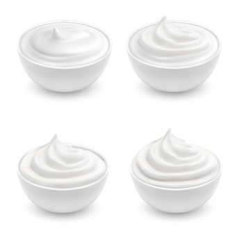 Realistic set of white bowls with sour cream, mayonnaise, yogurt, sweet dessert