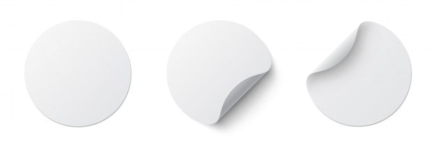 Realistic set white round paper adhesive stickers  with curved corner and shadow. white round sticker on white    .