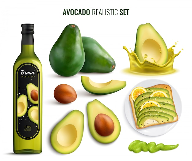 Realistic set with avocado fruit oil sandwich and guacamole icons isolated on white