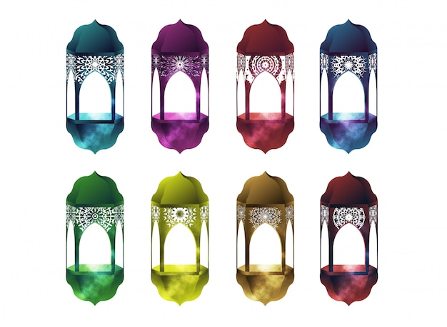 Realistic  set with colorful lanterns fanous for ramadan kareem on the white background.