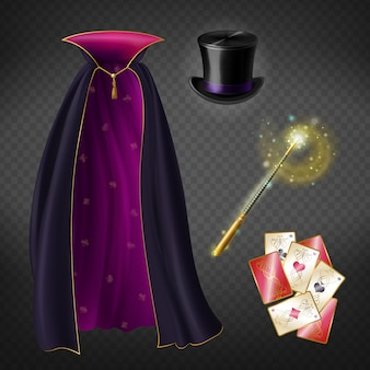 Realistic set with illusionist equipment for tricks isolated on transparent background.