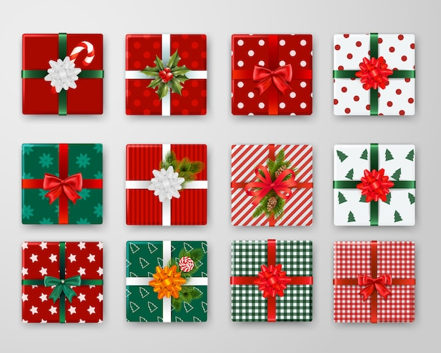 Realistic set of wrapped christmas gift boxes with colorful ribbons and bows isolated