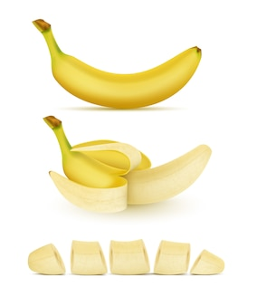 Realistic set of yellow bananas, whole, peeled and sliced, isolated on background. sweet trop