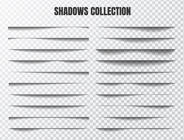 Realistic shadow effect set separate components on a transparent background