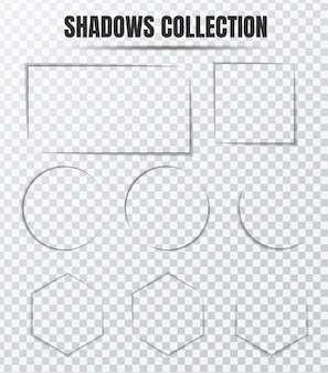 Realistic shadow effect vector set separate components on transparent