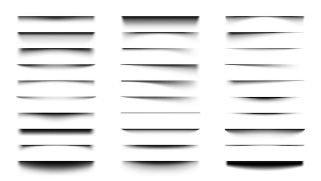 Realistic shadows. overlay and transparency shadow effect template, box or paper page shadow with soft edges set.