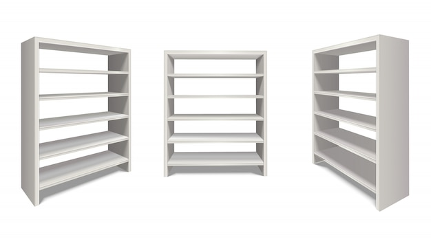 Realistic  shelf stand in white color from side and front view. isolated on white background.