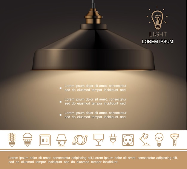 Realistic shining lamp template with text and lighting equipment linear icons Free Vector