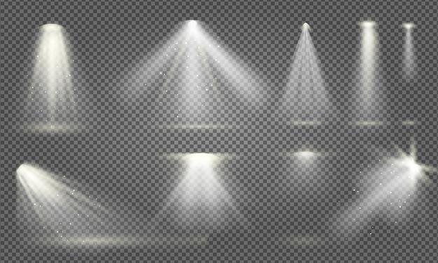 リアルな輝くサーチライトセット分離イラスト