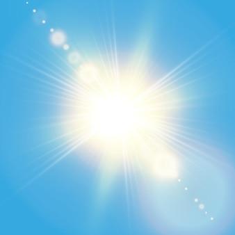 レンズフレアのあるリアルな輝く太陽