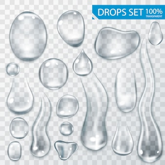 Realistic shining water drops and drips on transparent background illustration