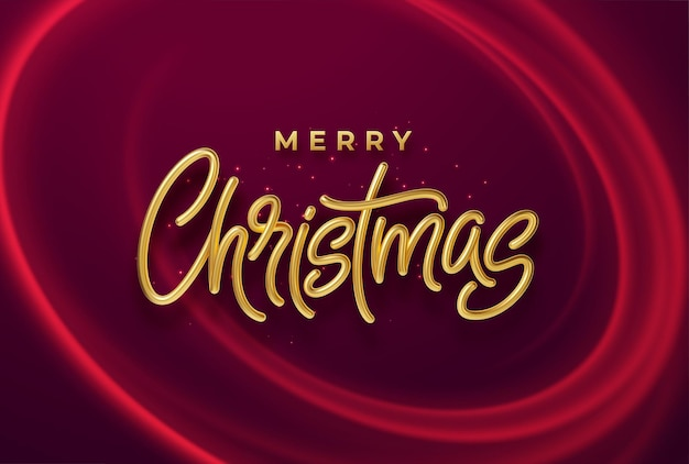Realistic shiny 3d golden inscription merry christmas on a background with red bright waves. vector illustration eps10