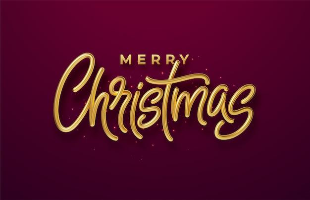 現実的な光沢のある3 dゴールデン碑文メリークリスマス、背景が赤。