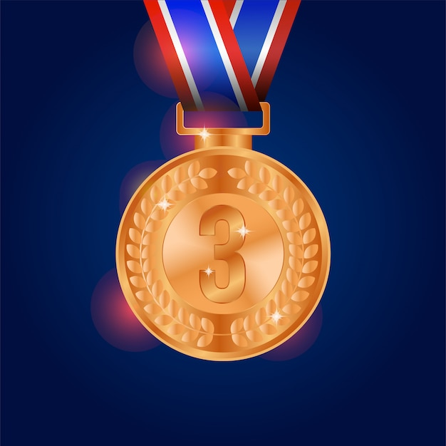 Realistic shiny bronze medal with blue background