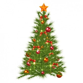 Realistic and shiny christmas tree with decorations