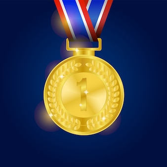 Realistic shiny gold medal with blue background