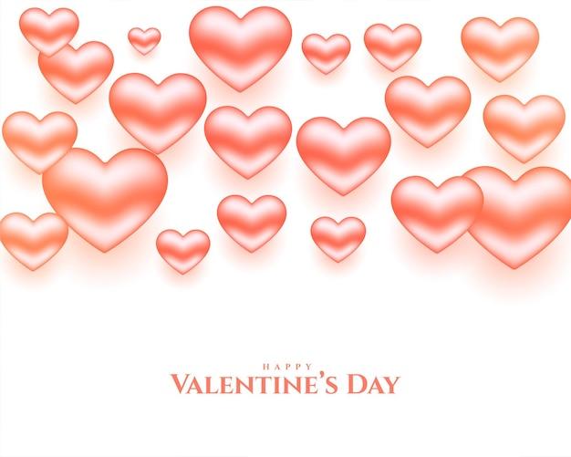 バレンタインデーのための現実的な光沢のある心
