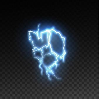 市松模様の透明な背景に分離された現実的な光沢のある雷や電気の爆発。放電視覚効果