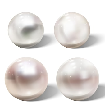 Realistic shiny natural sea pearl with light effects.