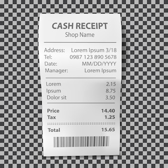 Realistic shop receipt, paper payment bill
