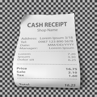 Realistic shop receipt