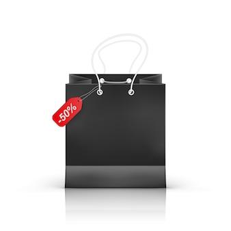 Реалистичная сумка для покупок, изолированные на прозрачном фоне,
