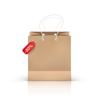Реалистичная сумка для покупок на прозрачном фоне, иллюстрация