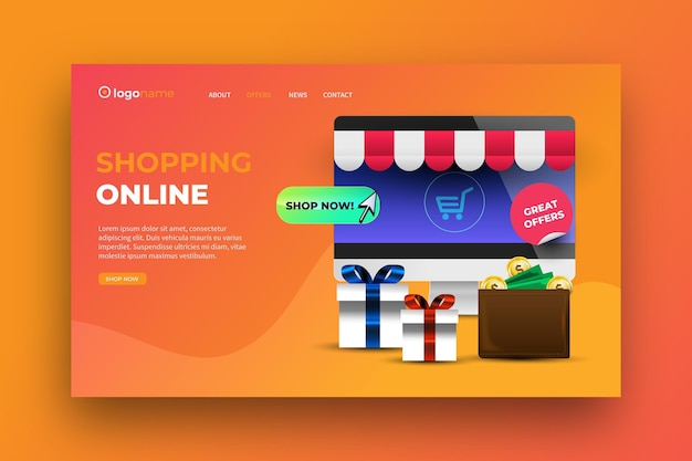 Realistic shopping online landing page design