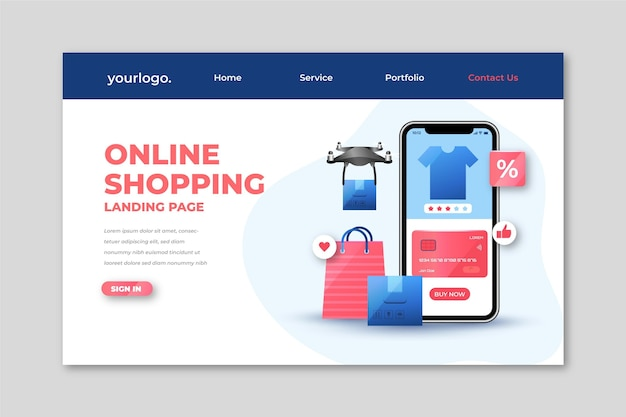 Realistic shopping online landing page template