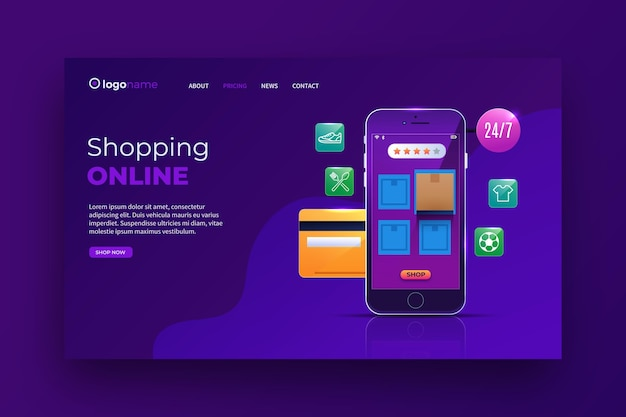 Realistic shopping online landing page theme