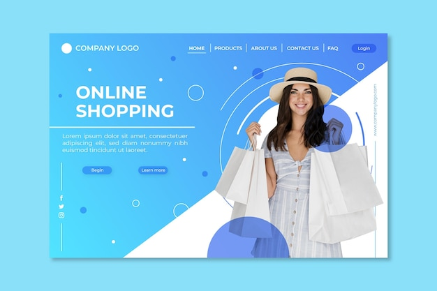 Realistic shopping online landing page
