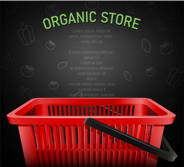 Realistic shopping red basket, organic store illustration