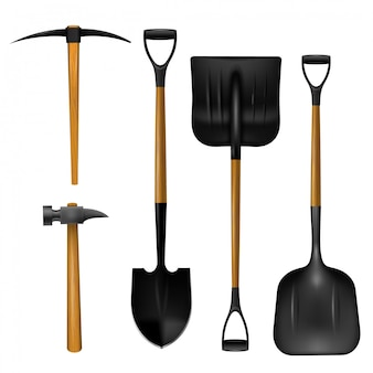 Realistic shovels, hammer and axe