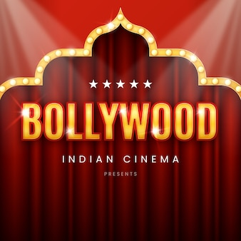 Realistic sign for bollywood cinema night