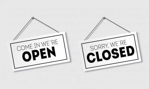 Realistic sign with shadow. sorry, we are closed. come in, we`re open. signboard with a rope.