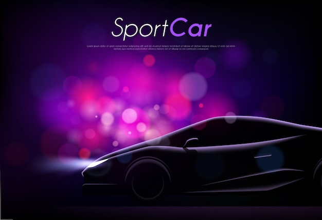 Realistic silhouette of sport car body editable text and blurry purple particles vector illustration