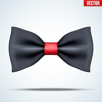Realistic silk black and red bow tie. luxury accessories. fashion and trendy symbol. editable  illustration  on background.