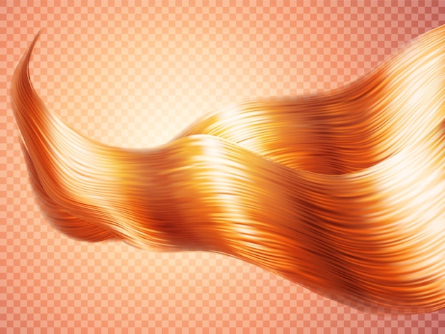 Realistic silky wavy hair of red ginger bronze curls with effulgence of radiance isolated on a
