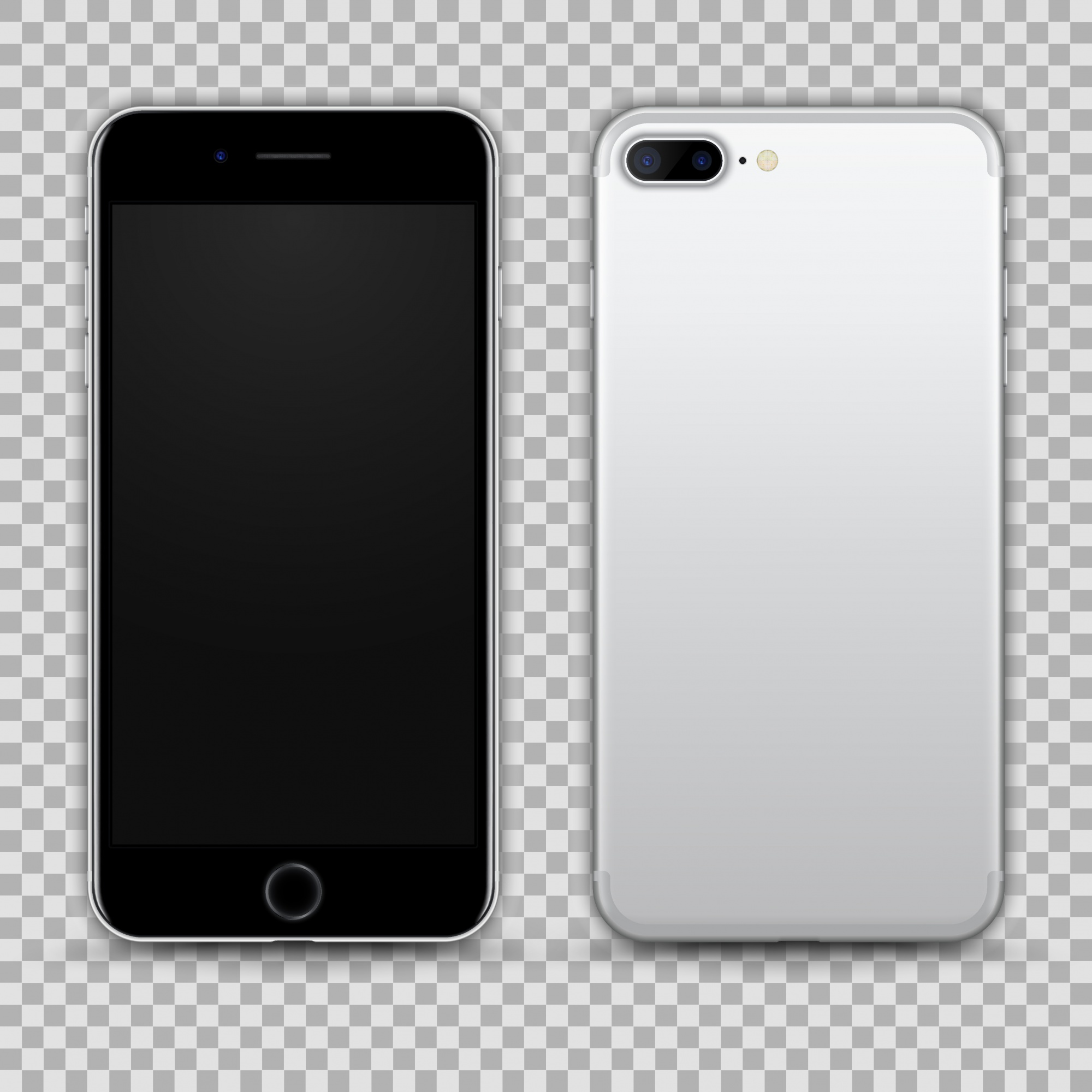 Realistic Silver Black Smartphone isolated on Transparent Background. Front and Back View