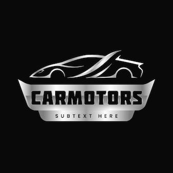 Realistic silver car logo
