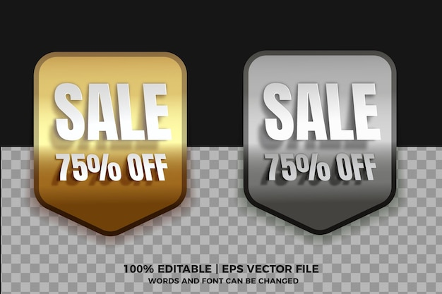 Realistic silver gold sale tag collections with editable text effect on transparent background